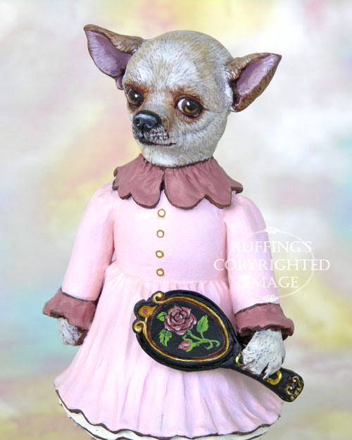 Trina the Chihuahua, Original One-of-a-kind Folk Art Dog Doll Figurine by Max Bailey