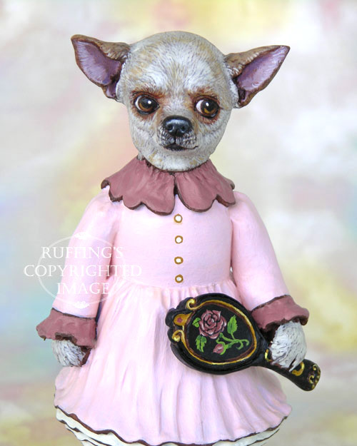 Triana the Chihuahua, Original One-of-a-kind Folk Art Dog Doll Figurine by Max Bailey