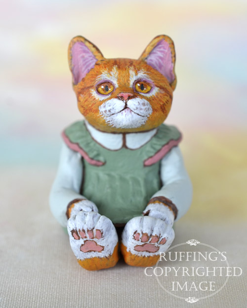 Trinket, miniature ginger tabby cat art doll, handmade original, one-of-a-kind kitten by artist Max Bailey