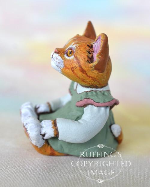 Trinket, miniature ginger tabby cat art doll, handmade original, one-of-a-kind kitten by artist Max Bailey