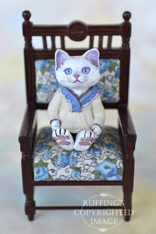 Trudy, miniature white cat art doll, handmade original, one-of-a-kind kitten by artist Max Bailey