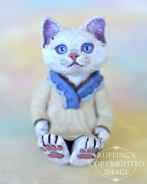 Trudy, miniature white cat art doll, handmade original, one-of-a-kind kitten by artist Max Bailey