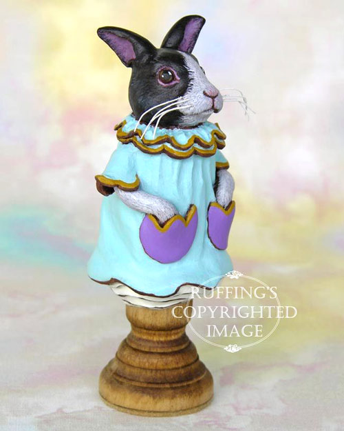 Tulip the Dutch Bunny, original black-and-white rabbit figurine by Max Bailey