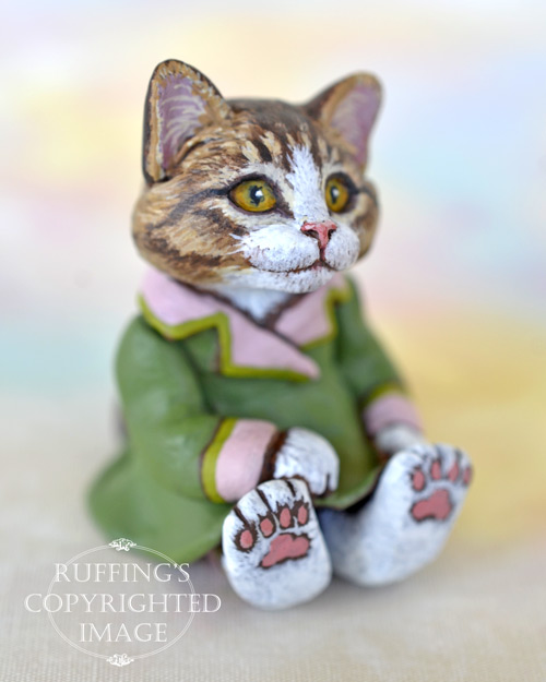 Vanda, miniature Norwegian Forest Cat art doll, handmade original, one-of-a-kind kitten by artist Max Bailey