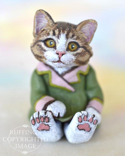 Vanda, miniature Norwegian Forest cat art doll, handmade original, one-of-a-kind kitten by artist Max Bailey