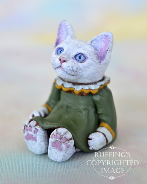 Victoria, miniature white cat art doll, handmade original, one-of-a-kind kitten by artist Max Bailey