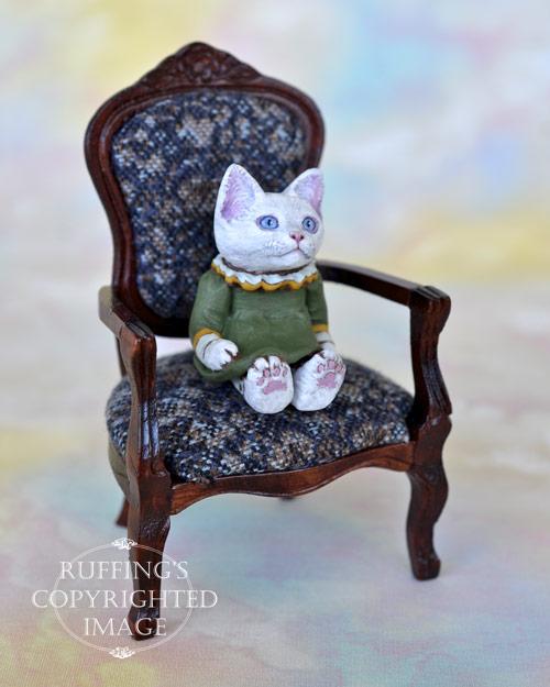 Victoria, miniature white cat art doll, handmade original, one-of-a-kind kitten by artist Max Bailey