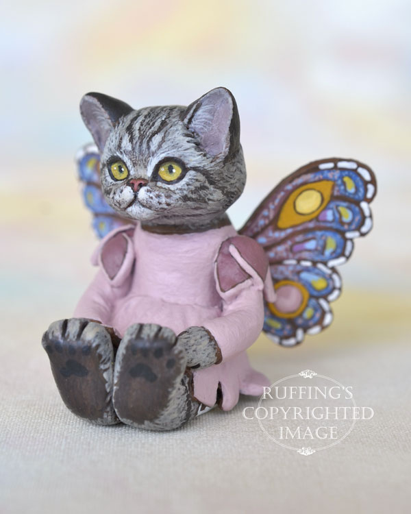 Vienna, miniature American Shorthair silver tabby fairy cat art doll, handmade original, one-of-a-kind kitten by artist Max Bailey