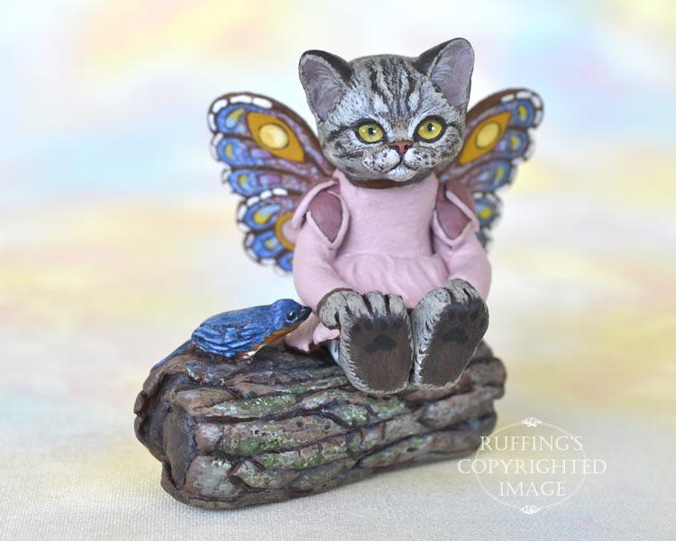 Vienna, miniature American Shorthair silver tabby fairy cat art doll, handmade original, one-of-a-kind kitten by artist Max Bailey
