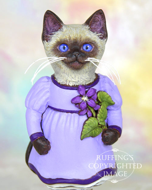 Violet the Siamese Kitten, Original One-of-a-kind Folk Art Cat Doll Figurine by Max Bailey
