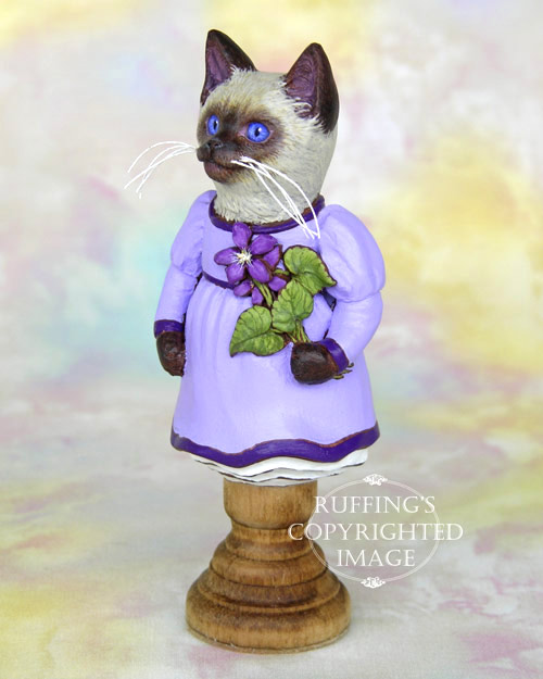 Violet the Siamese Kitten, Original One-of-a-kind Folk Art Doll Figurine by Max Bailey