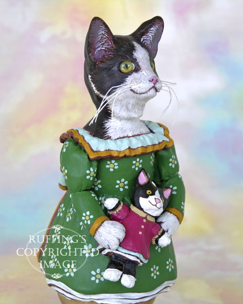 Wanda the Tuxedo Cat, Original One-of-a-kind Folk Art Doll Figurine by Max Bailey