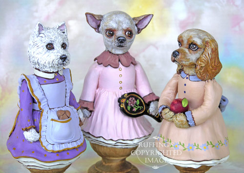 Wendy Westie, Trina the Chihuahua, and Charlotte the Cocker Spaniel, original, one-of-a-kind folk art doll figurines by Max Bailey