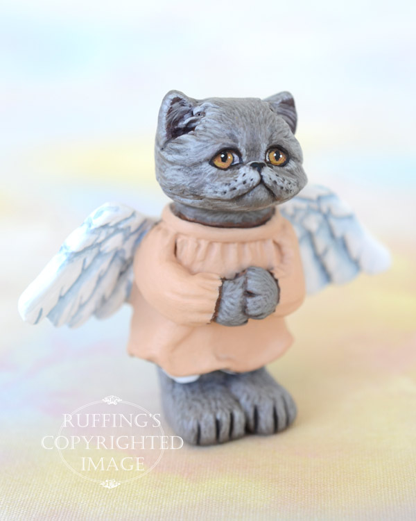 Willa the Blue Persian angel kitten original one-of-a-kind cat art doll figurine by artist Max Bailey