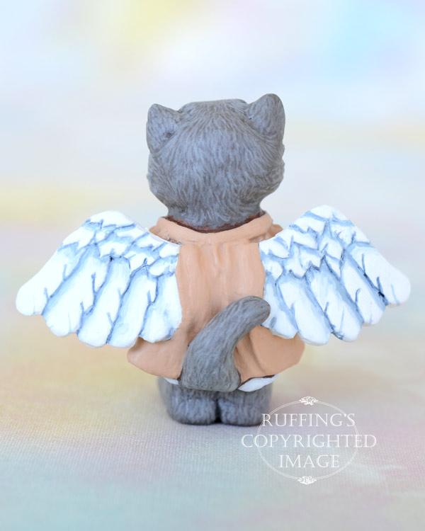 Willa, miniature angel Blue Persian cat art doll, handmade original, one-of-a-kind kitten by artist Max Bailey