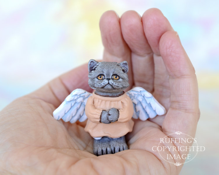 Willa, miniature angel Blue Persian cat art doll, handmade original, one-of-a-kind kitten by artist Max Bailey