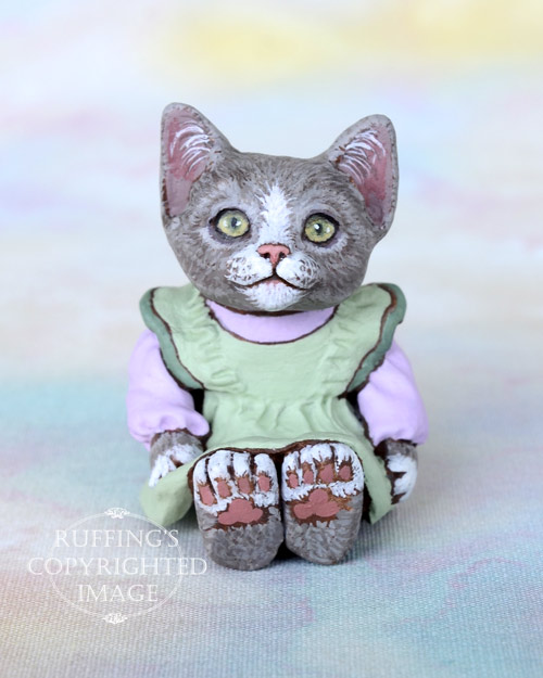Willow, Original One-of-a-kind Dollhouse-sized Gray-and-white Kitten Art Doll by Max Bailey