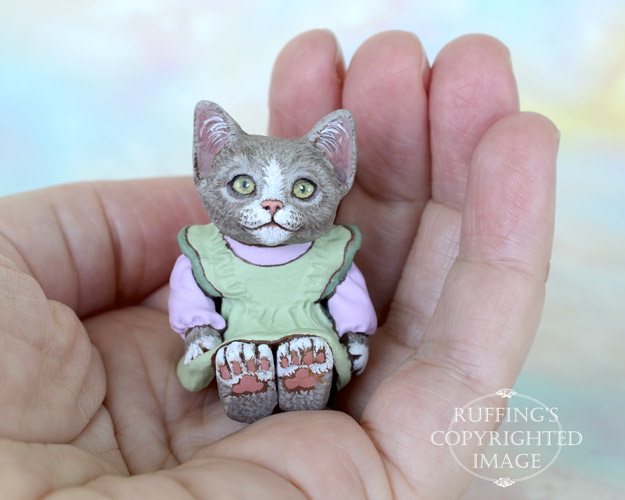 Miniature gray-and-white cat art doll, handmade original, one-of-a-kind kitten, Willow by artist Max Bailey