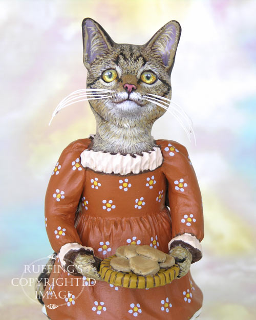 Winifred the Tabby Cat, Original One-of-a-kind Folk Art Doll Figurine by Max Bailey