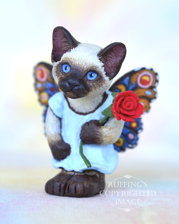 Zanda, miniature Siamese fairy cat art doll, handmade original, one-of-a-kind kitten by artist Max Bailey