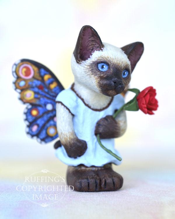 Zanda, miniature Siamese fairy cat art doll, handmade original, one-of-a-kind kitten by artist Max Bailey