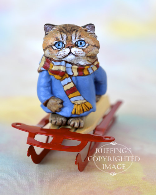 Zara, Original One-of-a-kind Dollhouse-sized Tabby Persian kitten art doll by Max Bailey