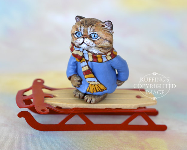 Zara, miniature Persian tabby cat art doll, handmade original, one-of-a-kind kitten by artist Max Bailey