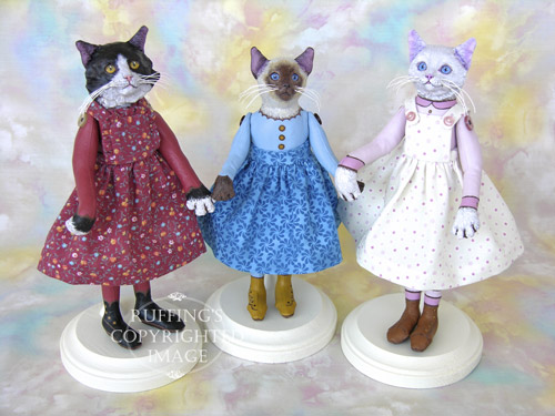 Zelda the Tuxedo Cat, Melody the Siamese Cat, and Amy the White Cat, original one-of-a-kind cat art dolls by Max Bailey
