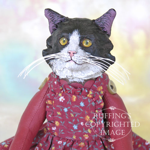 Zelda the Tuxedo Cat, Original One-of-a-kind Black and White Cat Folk Art Doll by Max Bailey
