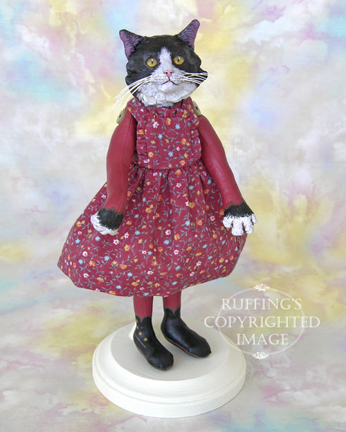 Zelda, Original One-of-a-kind Black-and-white Tuxedo Cat Art Doll by Max Bailey