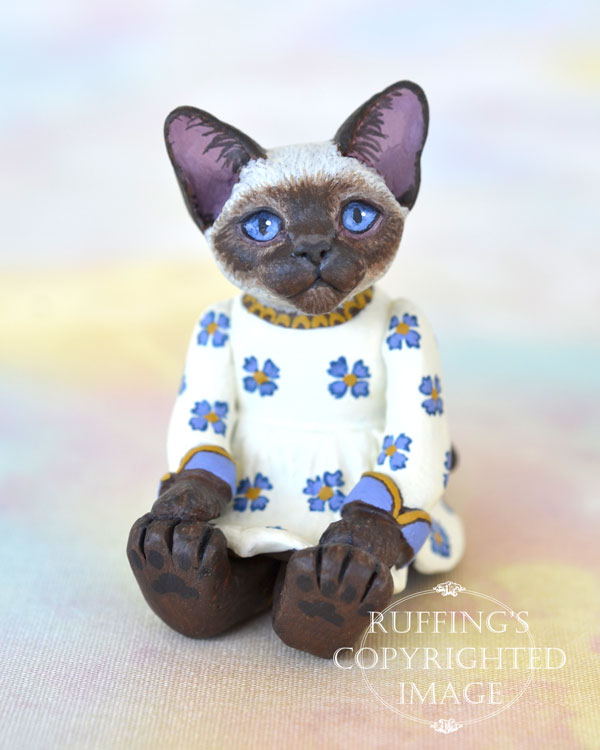Zella, miniature Siamese cat art doll, handmade original, one-of-a-kind kitten by artist Max Bailey
