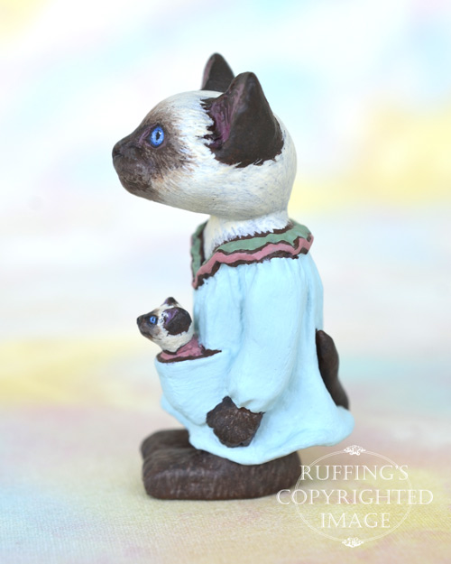 Zelma and Zooey, miniature Siamese cat art doll, handmade original, one-of-a-kind kittens by artist Max Bailey