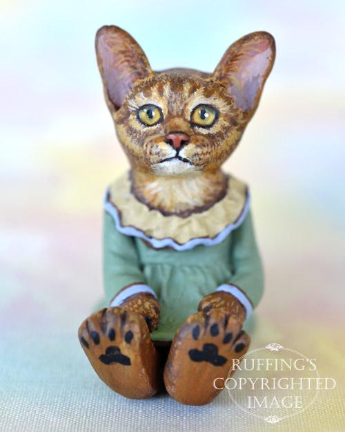 Zia, miniature Abyssinian cat art doll, handmade original, one-of-a-kind kitten by artist Max Bailey