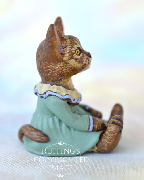 Zia, miniature Abyssinian cat art doll, handmade original, one-of-a-kind kitten by artist Max Bailey