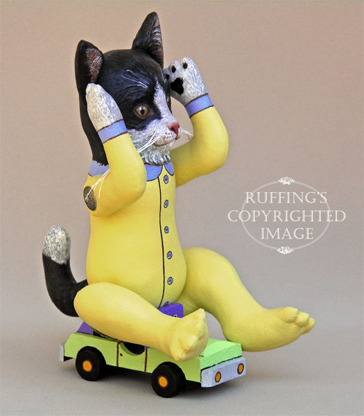 Ziggy the Black-and-White Tuxedo Kitten, Original One-of-a-kind Cat Art Doll by Elizabeth Ruffing