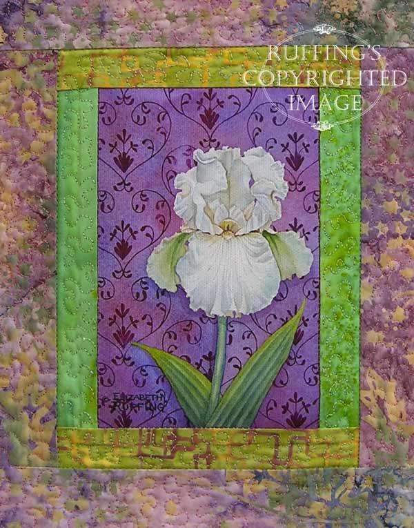 Iris floral art quilt by Elizabeth Ruffing