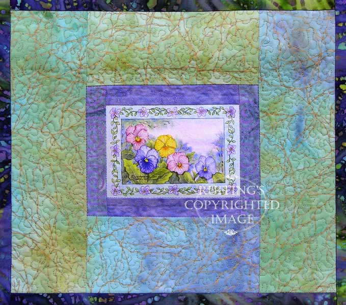 Pansy floral art quilt by Elizabeth Ruffing