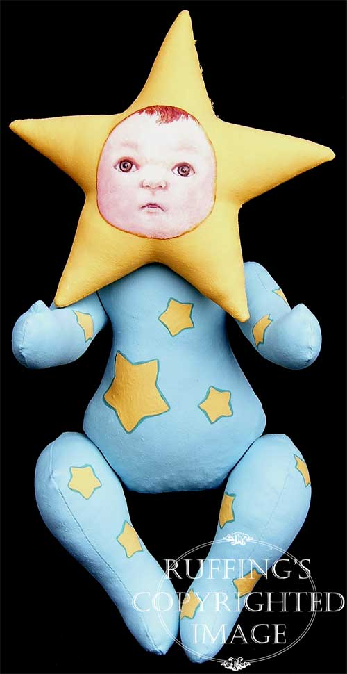 Sigrid the Star Baby, handmade original, one-of-a-kind art doll by artist Elizabeth Ruffing