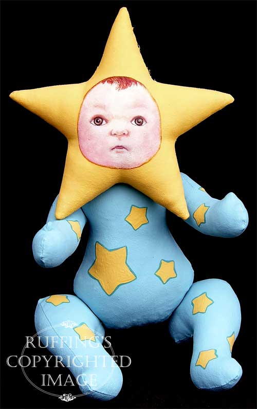 Sigrid the Star Baby, handmade original, one-of-a-kind art doll by artist Elizabeth Ruffing
