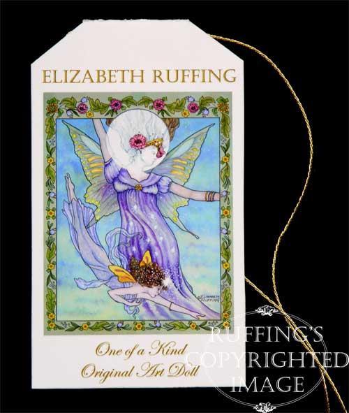 Sigrid the Star Baby art doll hang tag by artist Elizabeth Ruffing