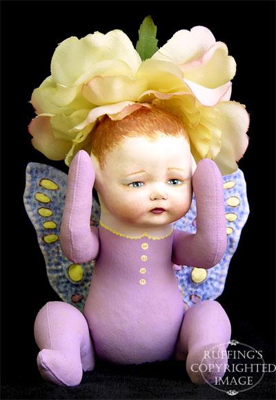 Rosa the Rose Flower Fairy Baby, Original Art Doll by artist Elizabeth Ruffing