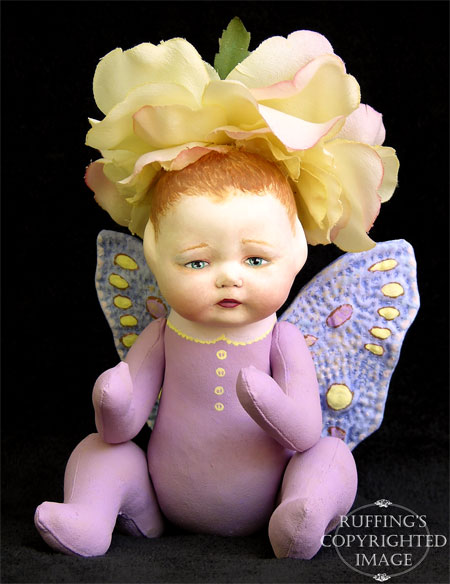 Rosa the Rose Flower Fairy Baby, Original One-of-a-kind Art Doll by Elizabeth Ruffing