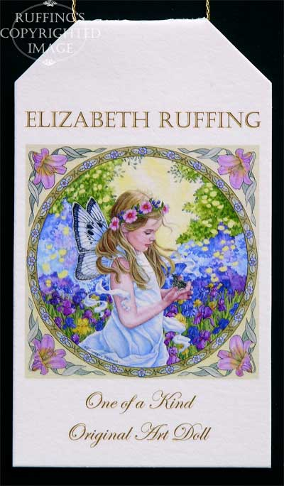 The Fairy and The Dove watercolor painting by artist Elizabeth Ruffing, on hang tag