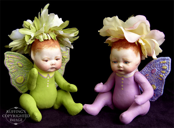 Greta and Rosa the Baby Flower Fairy Art Dolls by Elizabeth Ruffing