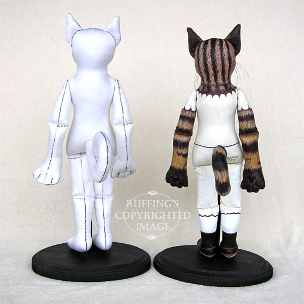 Original cat art dolls in progress, Elizabeth Ruffing, Max Bailey