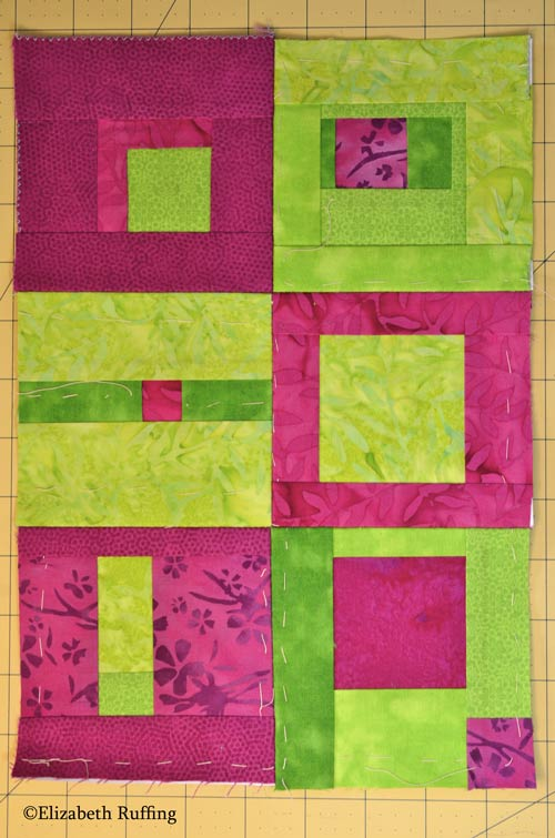 Magenta and apple green quilt blocks by Elizabeth Ruffing