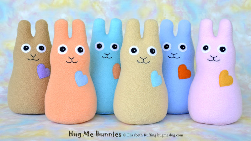 Hug Me Bunnies handmade stuffed animal rabbits by artist Elizabeth Ruffing