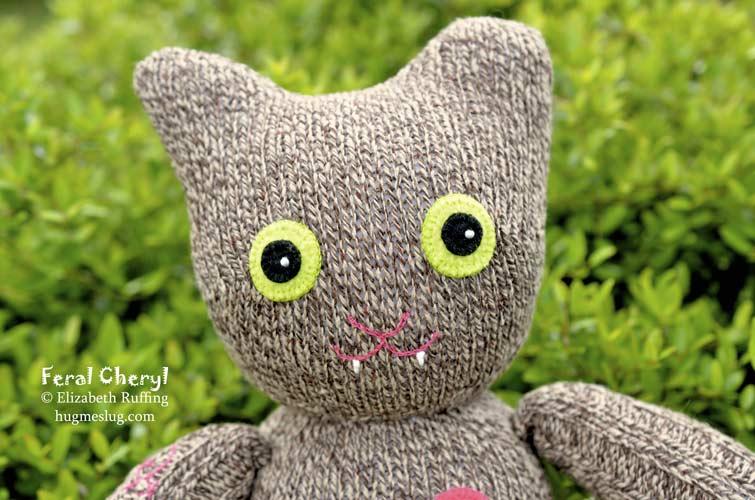Trap-Neuter-Return sock cat, Feral Cheryl II by artist Elizabeth Ruffing