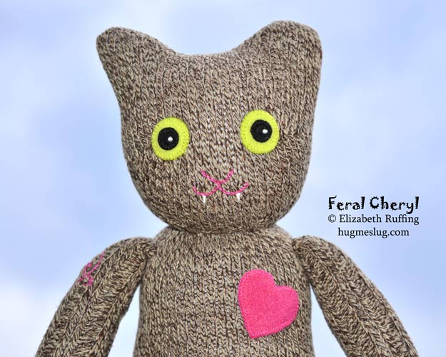 Trap-Neuter-Return sock cat, Feral Cheryl II by artist Elizabeth Ruffing