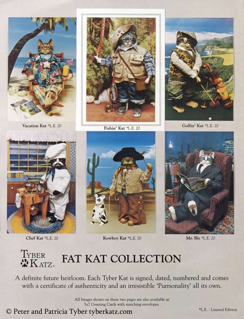 Anthropomorphic cat art dolls by artists Peter and Patricia Tyber of Tyber Katz